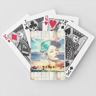 Rockabilly California Palms Coastal Summer Woman Bicycle Playing Cards