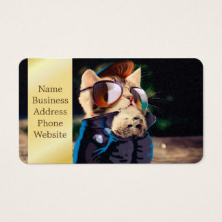 Rockabilly cat - biker cat - rocker cat - cute cat business card