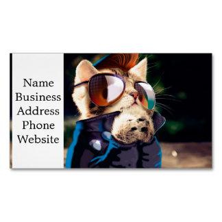 Rockabilly cat - biker cat - rocker cat - cute cat magnetic business card
