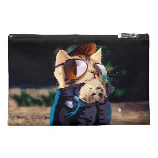 Rockabilly cat - biker cat - rocker cat - cute cat travel accessory bag