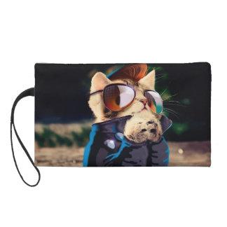 Rockabilly cat - biker cat - rocker cat - cute cat wristlet purse