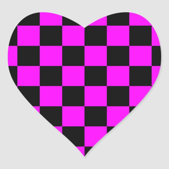 Rockabilly Checkerboard Heart Sticker