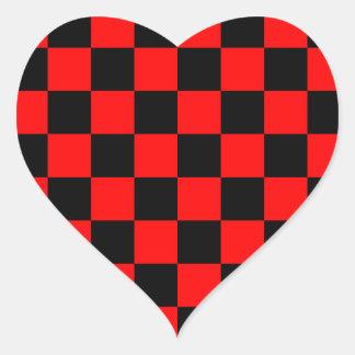 Rockabilly Checkerboard Heart Sticker