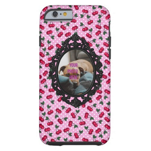 Rockabilly Cherries on Pink Personalize with Photo Phone Case