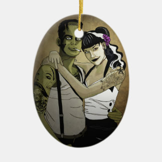 Rockabilly Couple Ceramic Ornament