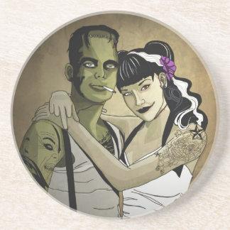 Rockabilly Couple Sandstone Coaster
