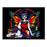 Rockabilly Fairy Retro Record Player Rainbow Postcard