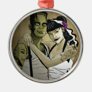 Rockabilly Frank and Bride Metal Ornament