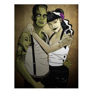 Rockabilly Frank and Bride Postcard