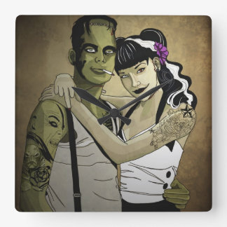 Rockabilly Frank and Bride Square Wall Clock