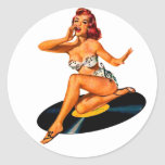 Rockabilly Goddess Classic Round Sticker