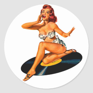 Rockabilly Goddess Classic Round Sticker