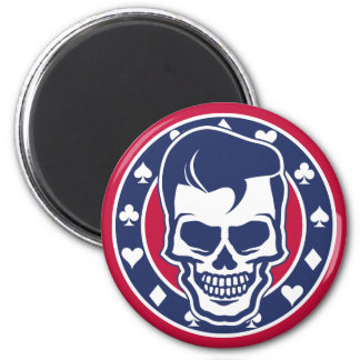 Rockabilly Greaser Skull and Aces 2 Inch Round Magnet