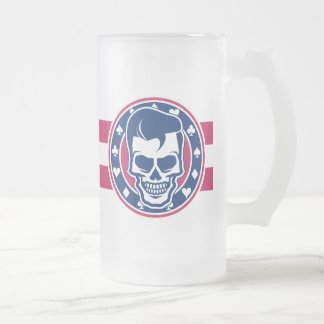 Rockabilly Greaser Skull and Aces Frosted Glass Beer Mug