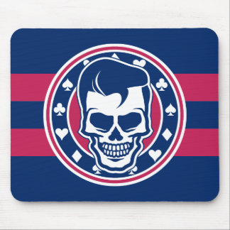 Rockabilly Greaser Skull and Aces Mouse Pad