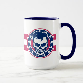 Rockabilly Greaser Skull and Aces Mug