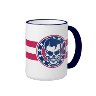 Rockabilly Greaser Skull and Aces Ringer Mug