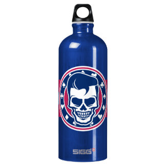 Rockabilly Greaser Skull and Aces Water Bottle