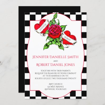 Rockabilly Hearts and Rose Wedding Invitation