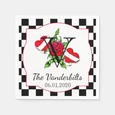 Rockabilly Hearts and Rose Wedding Napkin