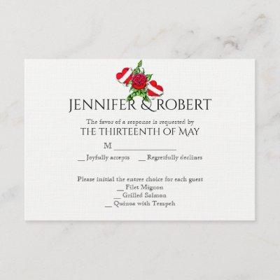 Rockabilly Hearts and Rose Wedding Response Card