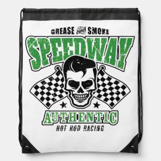 Rockabilly Hot Rod Racer Skull Drawstring Backpack