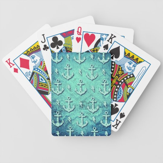 Rockabilly nautical anchor pattern in blue. bicycle playing cards