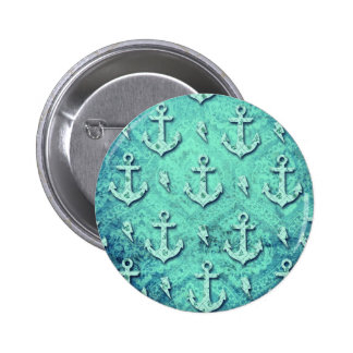 Rockabilly nautical anchor pattern in blue. button
