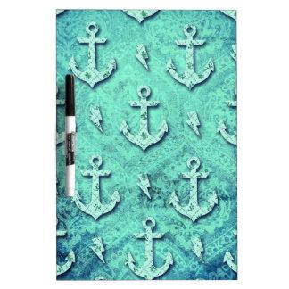 Rockabilly nautical anchor pattern in blue. dry erase board