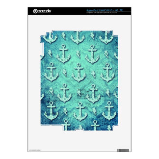 Rockabilly nautical anchor pattern in blue. iPad 3 skins