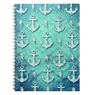 Rockabilly nautical anchor pattern in blue. notebook