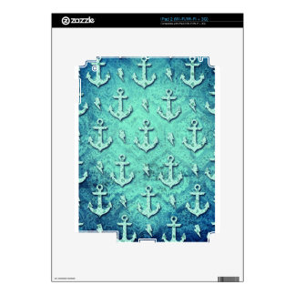 Rockabilly nautical anchor pattern in blue. skin for the iPad 2