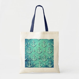 Rockabilly nautical anchor pattern in blue. tote bag