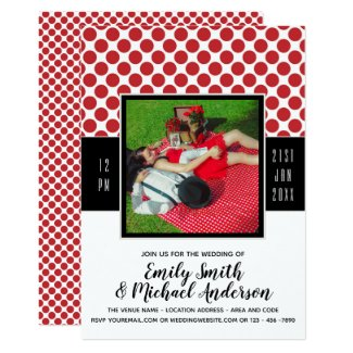 Rockabilly PHOTO Wedding RED Polkadots black Invitation