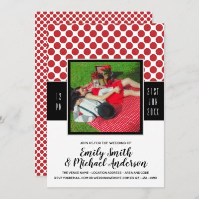 Rockabilly PHOTO Wedding RED Polkadots black Invitation