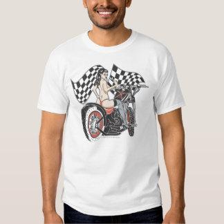 Rockabilly Pinup Girl On Chopper T-shirt