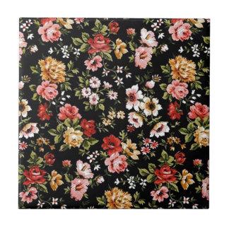 Rockabilly retro fifties floral daisies ceramic tile