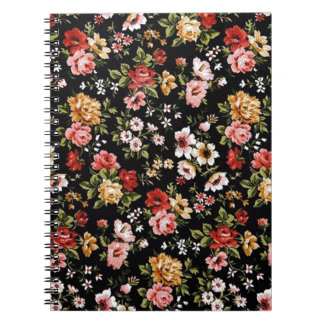 Rockabilly retro fifties floral daisies spiral note book