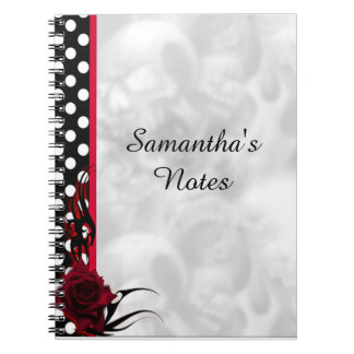 Rockabilly Roses and Polka Dots Goth Journal Note Books