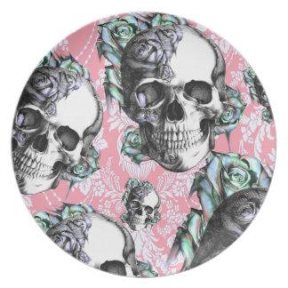 Rockabilly Skulls in Spring. Dinner Plate