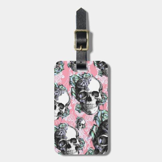 Rockabilly Skulls in Spring. Luggage Tag
