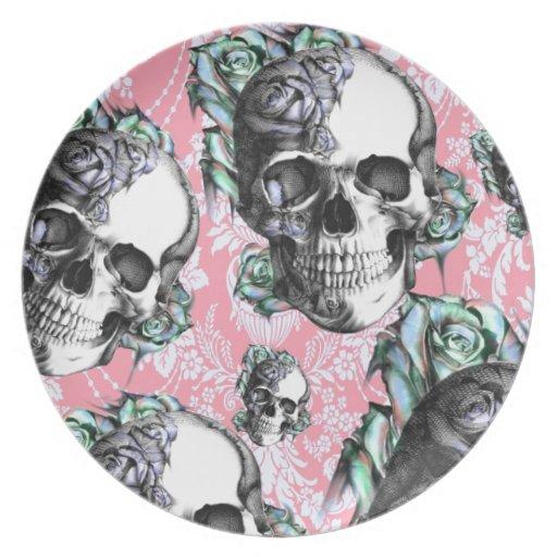 Rockabilly Skulls in Spring. Dinner Plates