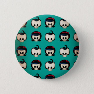 Rockabilly Skulls Pattern Button