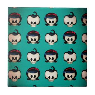 Rockabilly Skulls Pattern Ceramic Tile