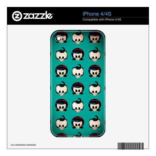 Rockabilly Skulls Pattern iPhone 4 Decal