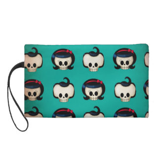 Rockabilly Skulls Pattern Wristlet Purse