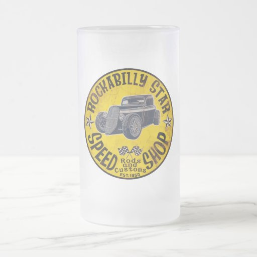 Rockabilly Speed shop 16 Oz Frosted Glass Beer Mug