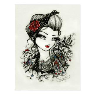 Rockabilly Tattoo Girl Sketch Rose Art Postcard