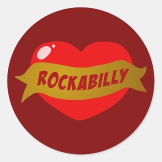 Rockabilly Tattoo Heart Classic Round Sticker