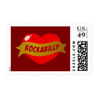Rockabilly Tattoo Heart Postage Stamp